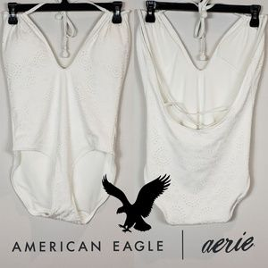 Aerie White Lace One-Piece Swimsuit Large